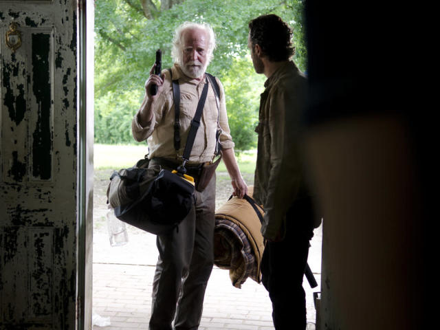 "Hershel Greene (Scott Wilson) and Rick Grimes (Andrew Lincoln) in ""Seed,"" the Season Three premiere episode of ""The Walking Dead"" on AMC."