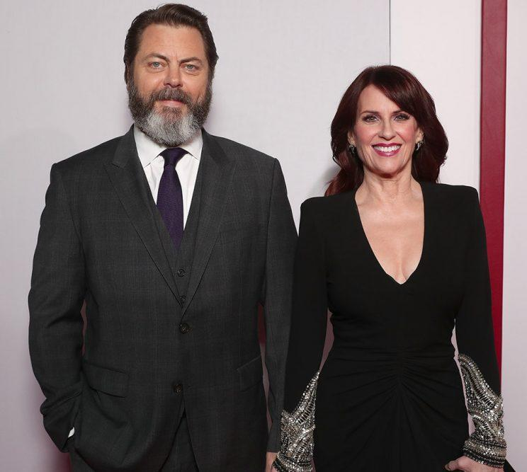 Nick Offerman and Megan Mullally attend the premiere Of 20th Century Fox's