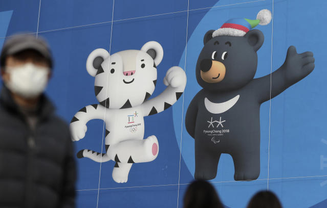 "Animal-rights activists are hoping ""Bandabi,"" an Asiatic black bear and a PyeongChang Olympics mascot, will draw attention to bear farming in South Korea. (AP Photo/Lee Jin-man)"