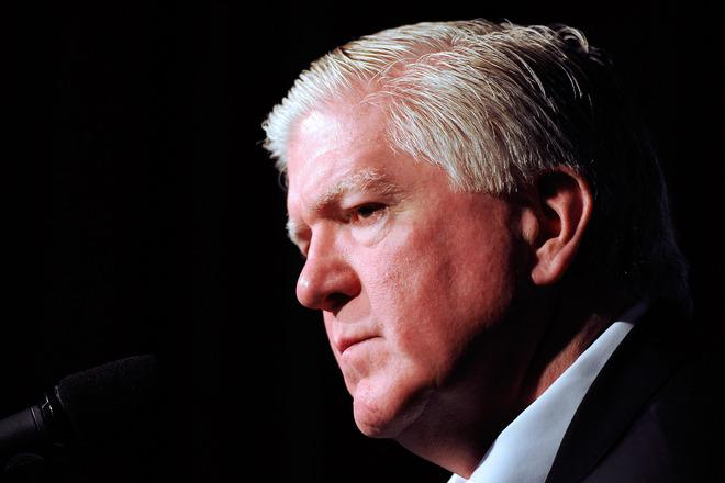 MONTREAL, CANADA - MARCH 3:  Toronto Maple Leafs General Manager Brian Burke speaks to the media during a press conference to introduce new head coach Randy Carlyle at the Bell Centre on March 3, 2012 in Montreal, Quebec, Canada.  (Photo by Richard Wolowicz/Getty Images)
