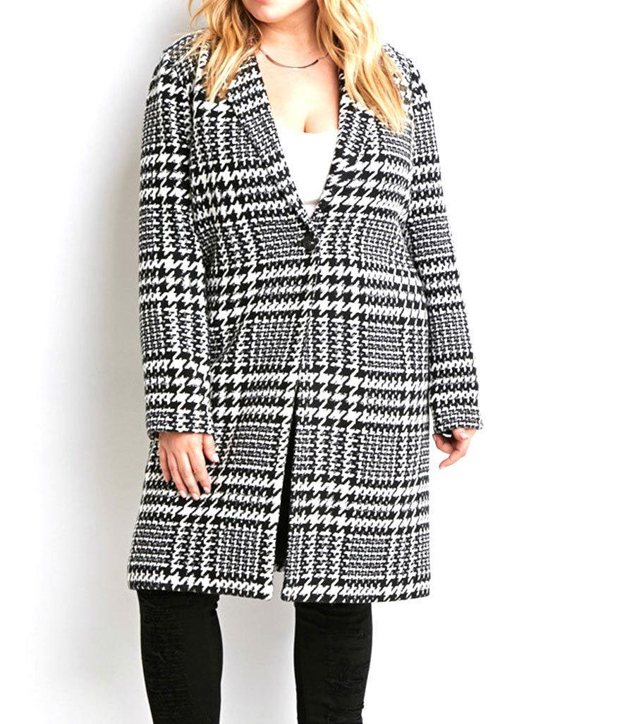 """<p>Forever 21 Plus Size Houndstooth Car Coat, $40, <a href=""""http://www.forever21.com/Product/Product.aspx?BR=plus&Category=plus_size-outerwear&ProductID=2000179494&VariantID="""" rel=""""nofollow noopener"""" target=""""_blank"""" data-ylk=""""slk:forever 21.com"""" class=""""link rapid-noclick-resp"""">forever 21.com</a></p>"""