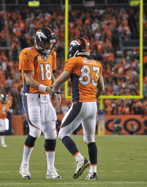 Denver Broncos quarterback Peyton Manning (18) congratulates wide receiver Wes Welker (83) after throwing a touchdown pass to Welker against the Oakland Raiders in the second quarter of an NFL football game, Monday, Sept. 23, 2013, in Denver. (AP Photo/Jack Dempsey)