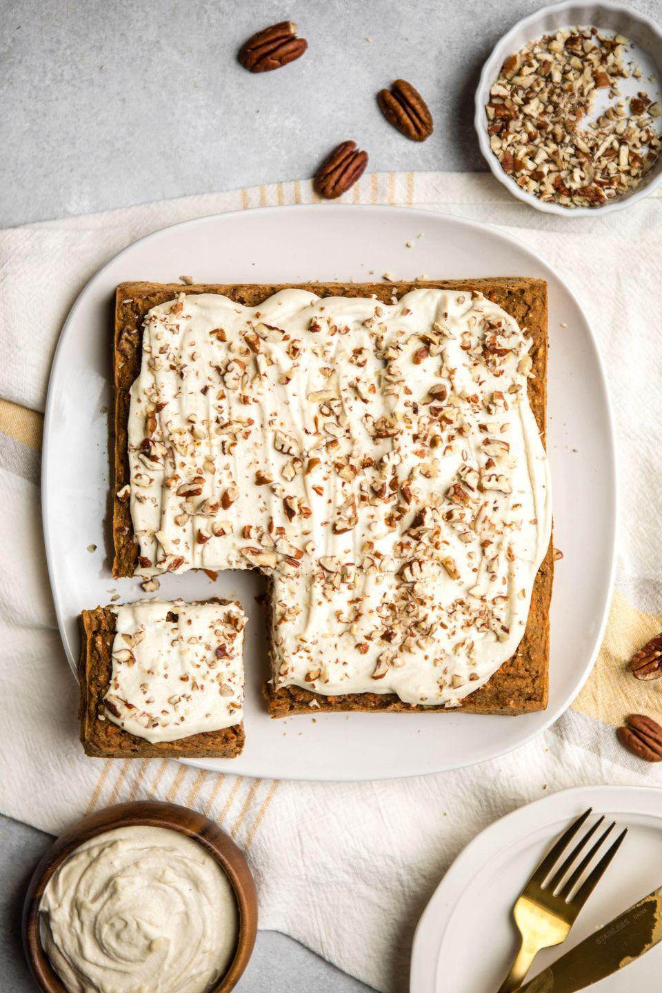 "<p>Carrot cake not only gets a vegan makeover, but also a healthy one since you don't have to use a drop of oil in this recipe. </p><p><em><a href=""https://frommybowl.com/healthy-carrot-cake/"" rel=""nofollow noopener"" target=""_blank"" data-ylk=""slk:Get the recipe at From My Bowl »"" class=""link rapid-noclick-resp"">Get the recipe at From My Bowl »</a></em></p>"