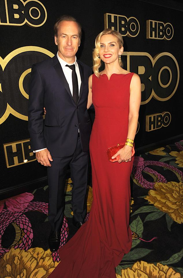 <p><em>Better Call Saul</em> stars Bob Odenkirk and Rhea Seehorn made the scene at HBO's after-party. (Photo: FilmMagic/FilmMagic for HBO) </p>