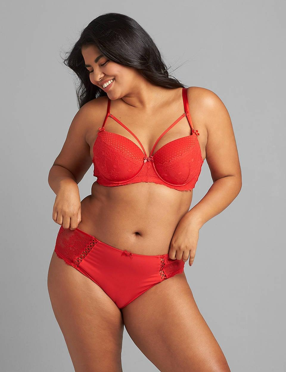 <p>Simple and sweet, this red-hot <span>CaciqueIcon Spot Mesh &amp; Lace Boost Balconette</span> ($57-$67) is sure to make anyone do a double take.</p>