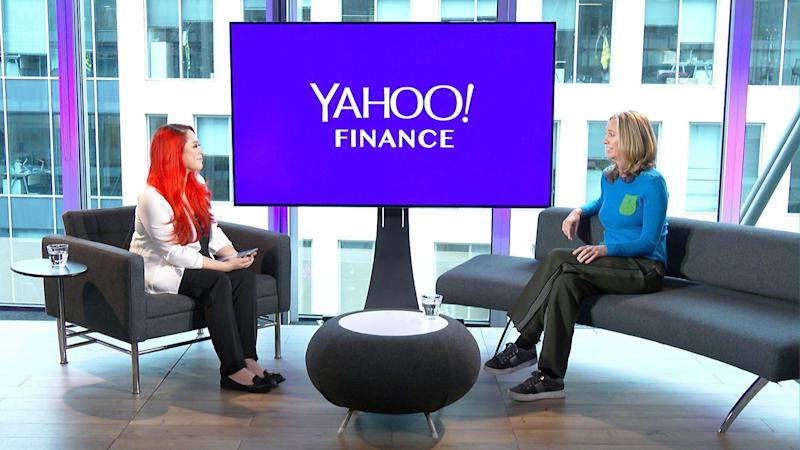 "Mumsnet and Gransnet CEO and co-founder Justine Roberts (right) on Yahoo Finance UK's ""Global Change Agents with Lianna Brinded"" show."