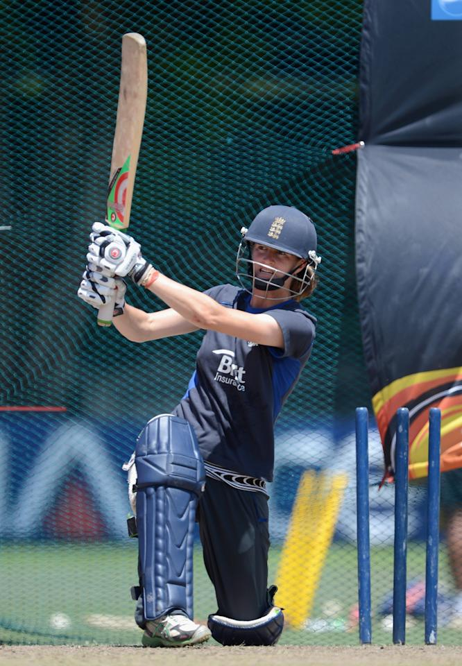 COLOMBO, SRI LANKA - OCTOBER 06:  Lydia Greenway of England bats during a nets session at Colts Cricket Ground on October 6, 2012 in Colombo, Sri Lanka.  (Photo by Gareth Copley/Getty Images)