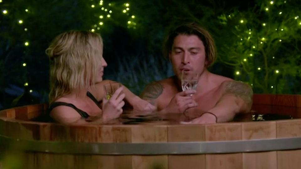 Becky and Adrian on hot tub date