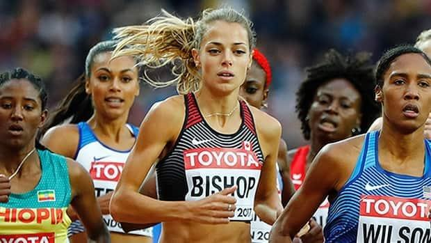 Melissa Bishop-Nriagu of Eganville, Ont., achieved the 1:59.50 Olympic standard in the women's 800 metres on Sunday in California, clocking 1:59.40. She was 4th in the 2016 Olympic final in Rio. (Lucy Nicholson/Reuters/File - image credit)