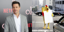 <p>Brad Pitt's first job in Hollywood was at an El Pollo Loco chicken restaurant, where he had to stand outside in a chicken costume and wave at passing would-be customers. If you go on any celeb-themed bus tour in Los Angeles, there is a 99.9 percent chance they will drive you by the very restaurant. </p>
