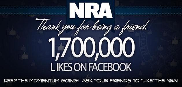 "NRA thanks its Facebook fans for 1.7 million ""likes"" (NRA/Twitter)"