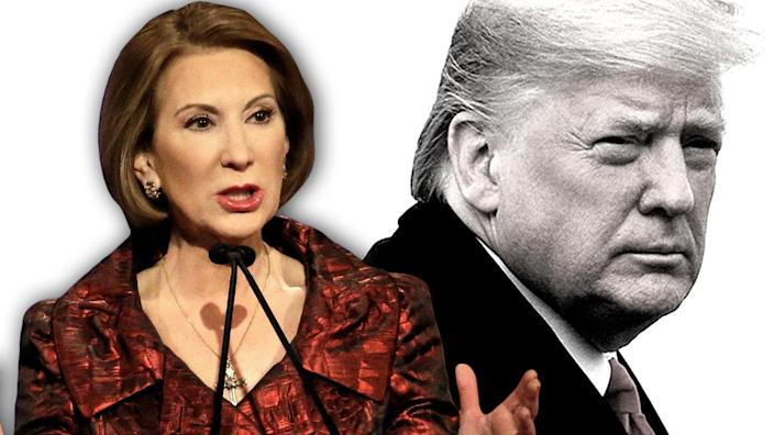 Carly Fiorina and President Trump. (Photo illustration: Yahoo News; photos: AP, Tom Brenner/Reuters)