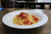 One of the dishes on the menu is the Spaghetti Alla Carbonara ($24). When mixed in the cheese wheel, the cream sauce from the spaghetti and the cheese combine, creating an irresistable cheesy sauce. (Photo: Yahoo Singapore)