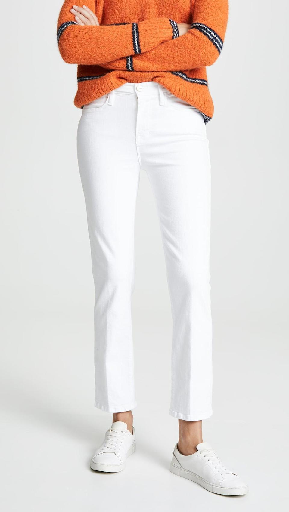 <p>Grab these <span>Frame Le High Straight Jeans</span> ($199) while they're still in stock. There's something so chic about white jeans for fall; we love a tonal look.</p>