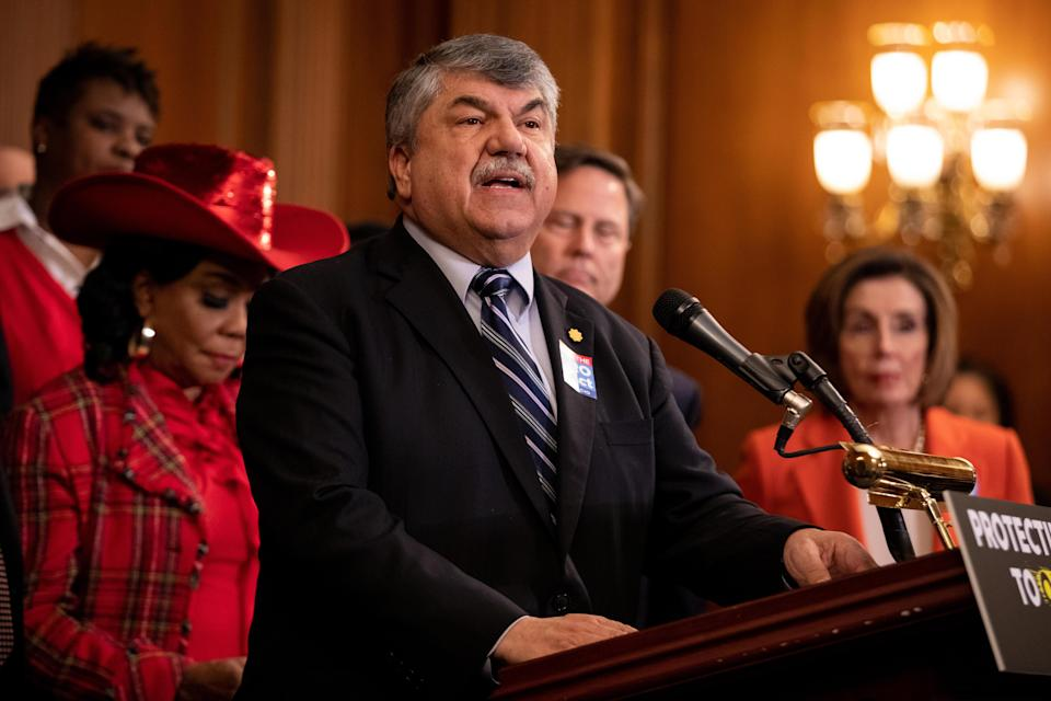 Richard Trumka, president of the AFL-CIO, speaks during a press conference at the Capitol in Washington, D.C., on Wednesday, February 5, 2020. / Credit: Amanda Andrade-Rhoades/Bloomberg via Getty Images