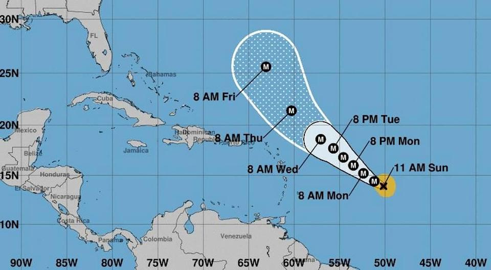 The conical track of Hurricane Sam at the 11 a.m. Sunday update