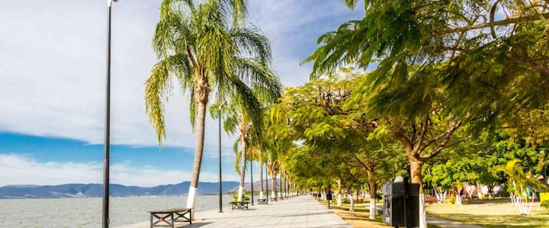 sidewalk of the chapala lake in Ajijic, a town in Jalisco, Mexico