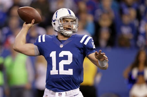 Indianapolis Colts quarterback Andrew Luck throws against the Buffalo Bills during the first half of an NFL football game in Indianapolis, Sunday, Nov. 25, 2012. (AP Photo/Michael Conroy)