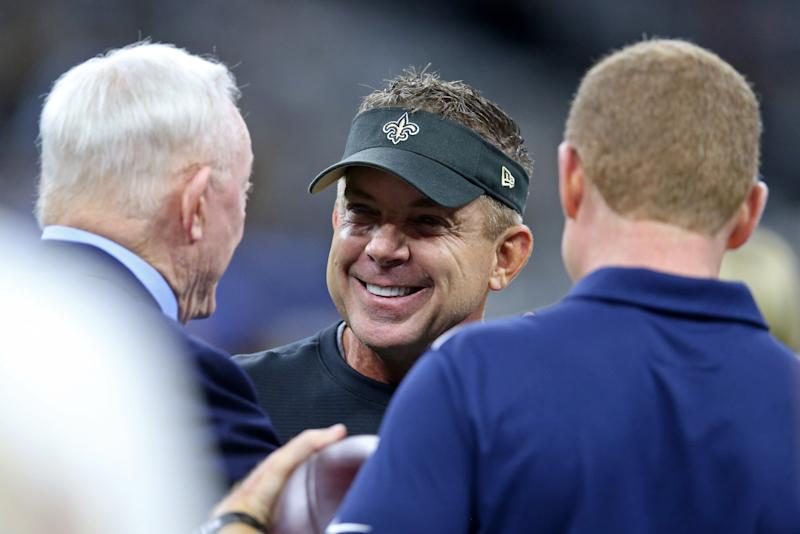 Sep 29, 2019; New Orleans, LA, USA; New Orleans Saints head coach Sean Payton, center, talks to Dallas Cowboys owner Jerry Jones and head coach Jason Garrett before their game at the Mercedes-Benz Superdome. Mandatory Credit: Chuck Cook-USA TODAY Sports