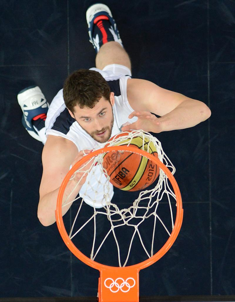 """NBA star center Kevin Love is expected to be traded to the Cleveland Cavaliers, joining US Olympic teammate LeBron James in a new """"Big Three"""" for the superstar playmaker"""