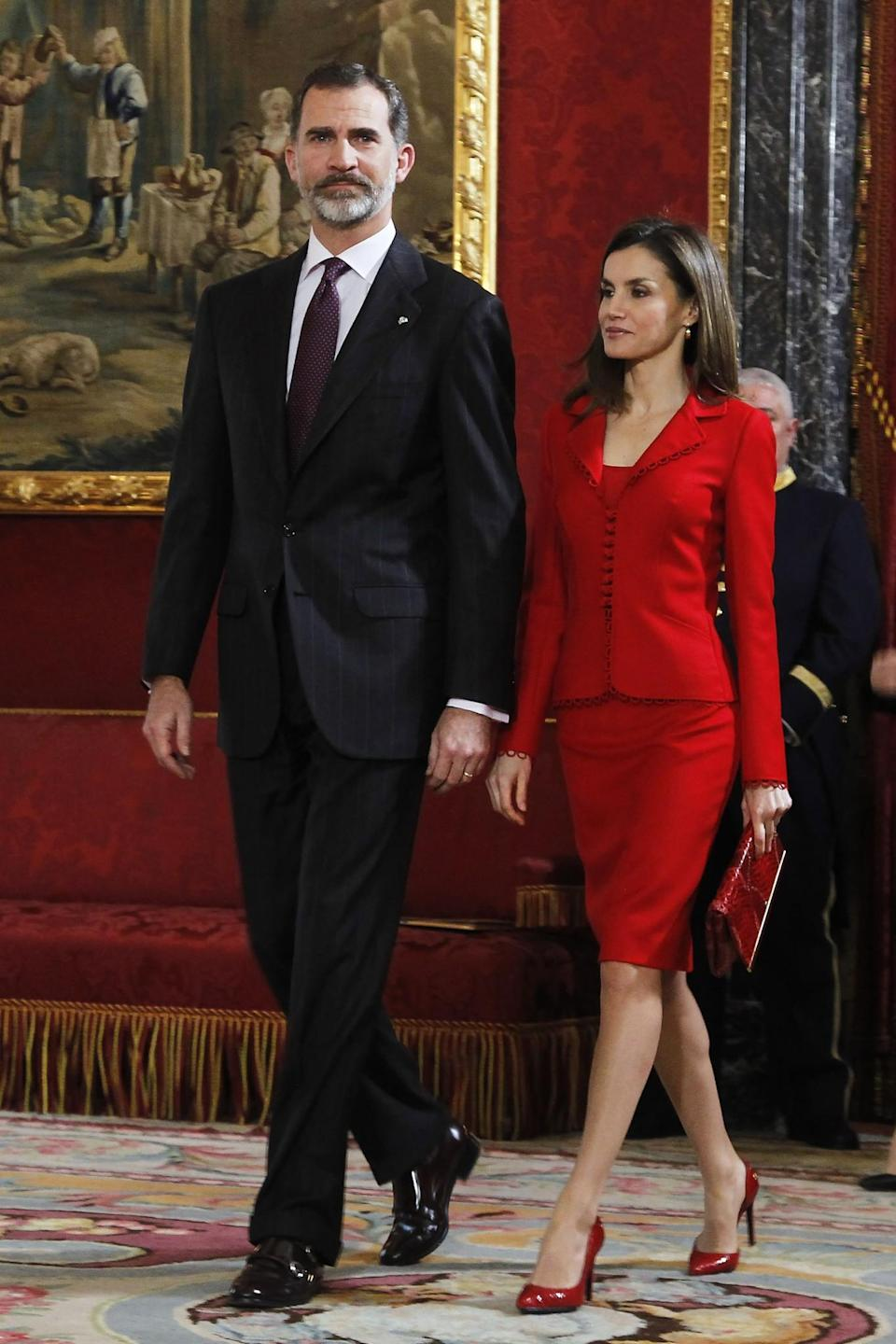 <p>Letizia is the queen of royal style. Before she married into Spain's royal family, she was an award-winning journalist with a knack for really good tailoring. Her style is still just as sophisticated – albeit not boring – and features a lot of red, tweeds and pussybow blouses. <i>[Photo: Getty]</i> </p>