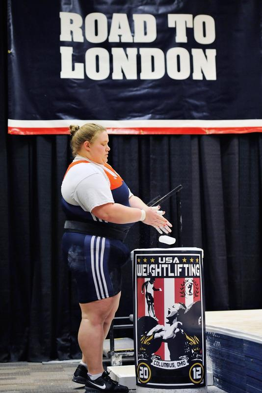 COLUMBUS, OH - MARCH 4: Holley Mangold chalks up before attempting to snatch 110 kilograms during the 2012 U.S. Olympic Team Trials for Women's Weightlifting on March 4, 2012 in Columbus, Ohio. (Photo by Jamie Sabau/Getty Images)