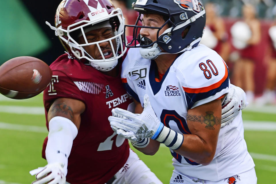 FILE - Bucknell wide receiver Connor Holmes (80) has a pass batted down by Temple safety DaeSean Winston (16) during the fourth quarter of an NCAA football game at Lincoln Financial Field in Philadelphia, in this Saturday, Aug. 31, 2019, file photo. Winston could end up as a big contributor in that group as he takes on an expanded role after working as a reserve in 2018 and 2019. (AP Photo/Corey Perrine, File)