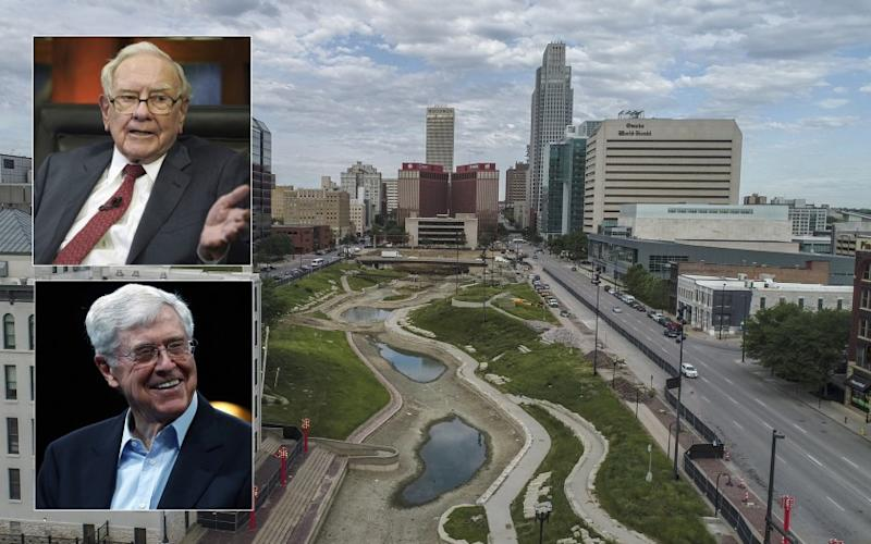 Warren Buffett, top inset, is a folksy son of Omaha, Neb., while Charles Koch hails from Wichita, Kan. Pictured is downtown Omaha.