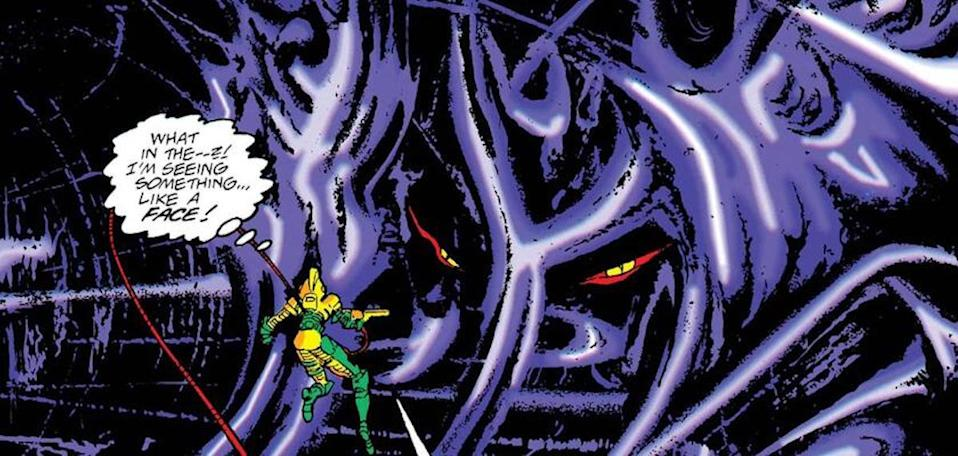 Alioth, a giant purple cloud monster, meets a small person in Marvel comics