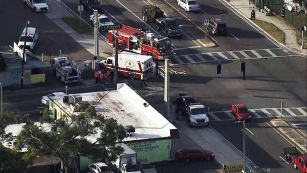 PHOTO: An ambulance was involved in a collision in Tampa, Fla., Nov. 1, 2018, while rushing to the scene of an incident in which multiple children were hit by a car, police said. (WFTV)