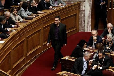 Alexis Tsipras, opposition leader and head of radical leftist Syriza party, arrives for the second of three rounds of a presidential vote at the Greek parliament in Athens December 23, 2014. REUTERS/Alkis Konstantinidis