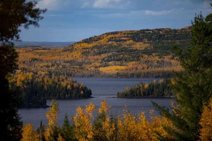 GRAND MARAIS, MN - SEPT. 27: Fall colors were peaking around Gunflint Lake in Grand Marais, Minn. and across the border in Canada on Sunday. Fall colors were nearing their peak along the North Shore of Lake Superior on Sunday September 27, 2020. From Silvery Bay to Tofte to Grand Marais, visitors flocked to hiking trails and overlooks to enjoy the fall foliage. (Photo by Alex Kormann/Star Tribune via Getty Images)