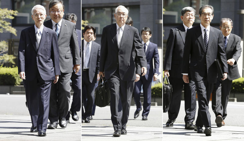In this combination of photos, from left, former Tokyo Electric Power Co. (TEPCO) chairman Tsunehisa Katsumata, Vice Presidents Sakae Muto and Ichiro Takekuro arrive at Tokyo District Court in Tokyo Thursday, Sept. 19, 2019. The court ruled that the three former executives for TEPCO were not guilty of professional negligence in the 2011 Fukushima meltdown. It was the only criminal trial in the nuclear disaster that has kept tens of thousands of residents away from their homes because of lingering radiation contamination. (Satoru Yonemaru/Kyodo News via AP)