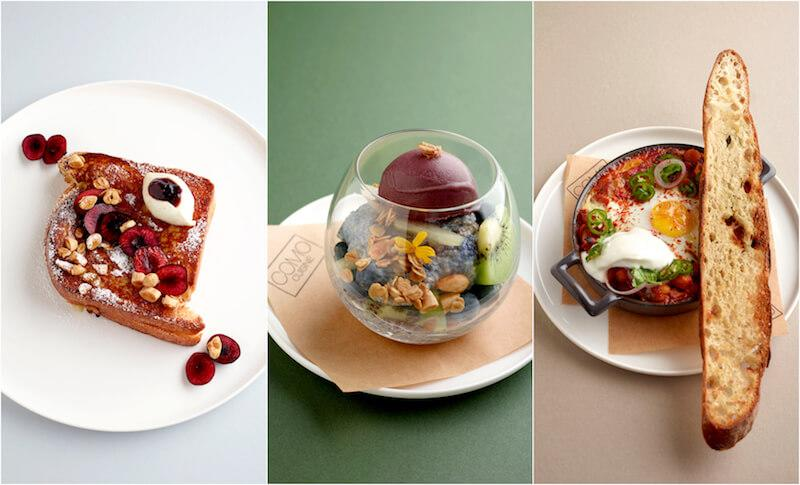 French toast, jasmine-scented chia trifle, and spicy baked eggs. Photos: Como Cuisine