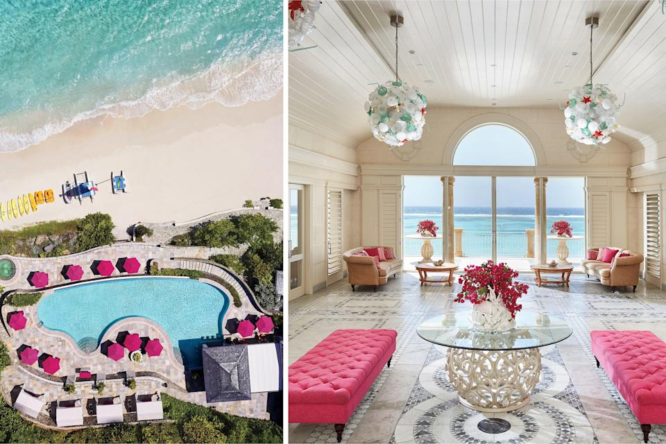 "<p><b>St. Vincent & The Grenadines</b></p> <p>There's pink, and then there's pink. And no resort of late can touch the aplomb with which this opulent resort tucked away on the tiny island of Canouan (which is further tucked away in the far-flung and jet-setty archipelago of St. Vincent and the Grenadines) embraces an elegant expression of joie de vivre that comes with the hue. Taking over the former Pink Sands Club on bright-white Godahl Beach, <a href=""https://www.mandarinoriental.com/canouan/pink-sand-beach/luxury-hotel"" rel=""nofollow noopener"" target=""_blank"" data-ylk=""slk:Mandarin Oriental's"" class=""link rapid-noclick-resp"">Mandarin Oriental's</a> first Caribbean resort opened last summer with 26 reimagined haute-luxe suites, 13 villas, and a sophisticated allure that calls like a bejeweled siren. Rates start at $1,300; <a href=""https://www.mandarinoriental.com/canouan/pink-sand-beach/luxury-hotel"" rel=""nofollow noopener"" target=""_blank"" data-ylk=""slk:mandarinoriental.com"" class=""link rapid-noclick-resp"">mandarinoriental.com</a>.</p>"