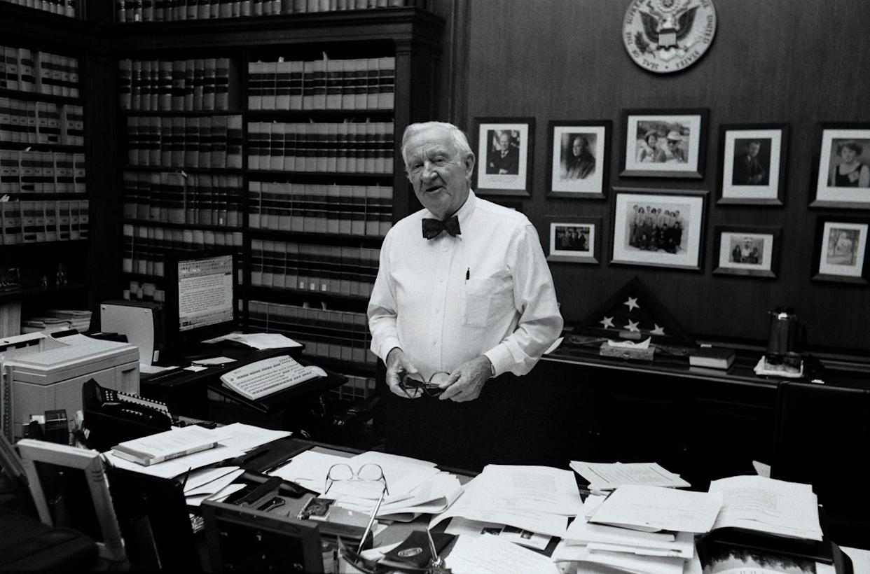 Justice Stevens poses for a portrait in his chambers at the Supreme Court on June 17, 2002.