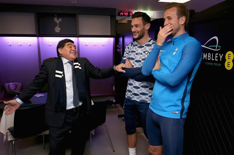 Maradona was in a mood to laugh with Hugo Lloris and Kane: Tottenham Hotspur FC via Getty Images