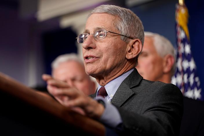 Anthony Fauci, M.D., director of the National Institute of Allergy and Infectious Diseases, at a news briefing at the White House on Sunday. (Joshua Roberts/Reuters)