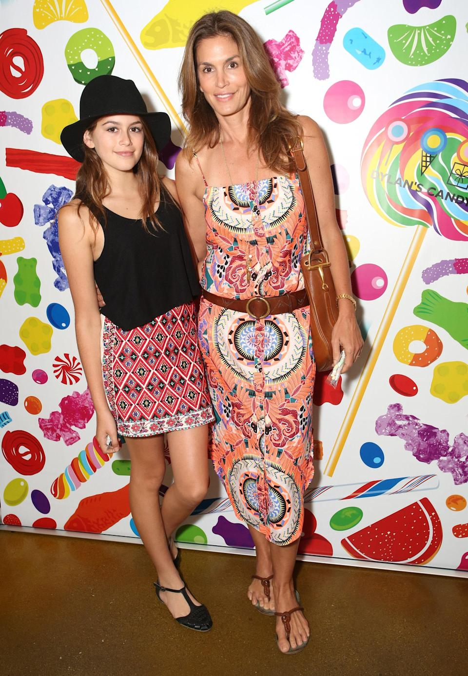 For a Dylan's Candy Bar event, Kaia and her supermodel mom both opted for colorful prints that fit the playful mood and nail that whole mother-daughter style thing without looking overly matchy-matchy.