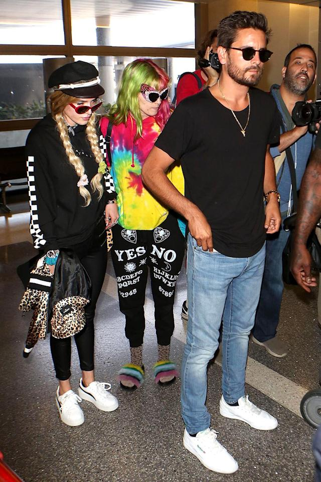 "<p>Bella Thorne and Scott Disick <a href=""https://www.yahoo.com/celebrity/bizarre-possible-couple-scott-disick-bella-thorne-fly-off-cannes-together-173624480.html"" data-ylk=""slk:fueled romance rumors;outcm:mb_qualified_link;_E:mb_qualified_link"" class=""link rapid-noclick-resp newsroom-embed-article"">fueled romance rumors</a> when they were spotted at LAX flying off to Cannes this week and <a href=""https://www.yahoo.com/celebrity/scott-disick-bella-thorne-seriously-212400822.html"" data-ylk=""slk:couldn't keep their hands off each other;outcm:mb_qualified_link;_E:mb_qualified_link"" class=""link rapid-noclick-resp newsroom-embed-article"">couldn't keep their hands off each other</a> while laying poolside. While these two are probably just looking for attention, they certainly are putting on quite a good show! (Photos: The Grosby Group/BackGrid) </p>"
