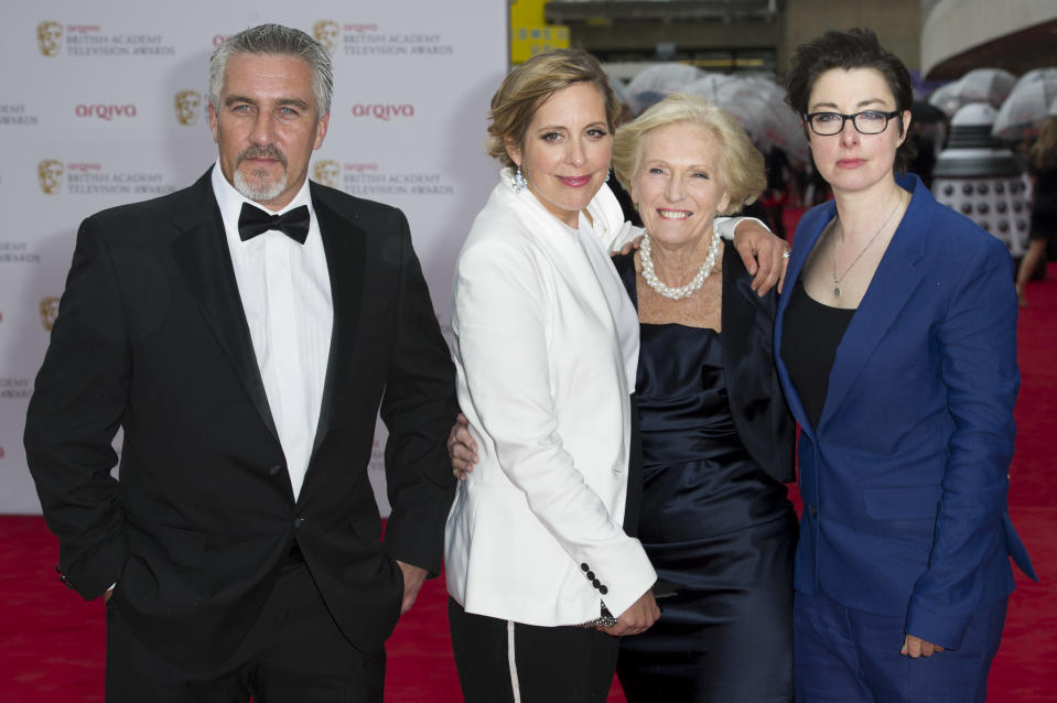 Paul Hollywood, Mel Giedroyc, Mary Berry and Sue Perkins arrive for the British Academy Television Awards BAFTA, in London, Sunday, May. 12, 2013. (Photo by Jonathan Short/Invision/AP)