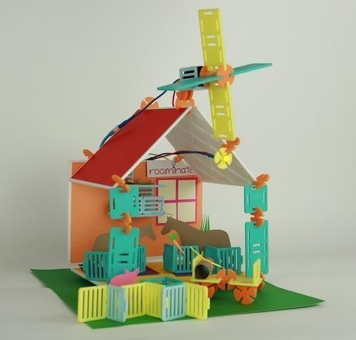 House built with Roominate playset