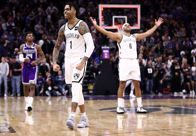 D'Angelo Russell scored 27 of his career-high 44 points in the fourth quarter of Brooklyn's win. (Getty)