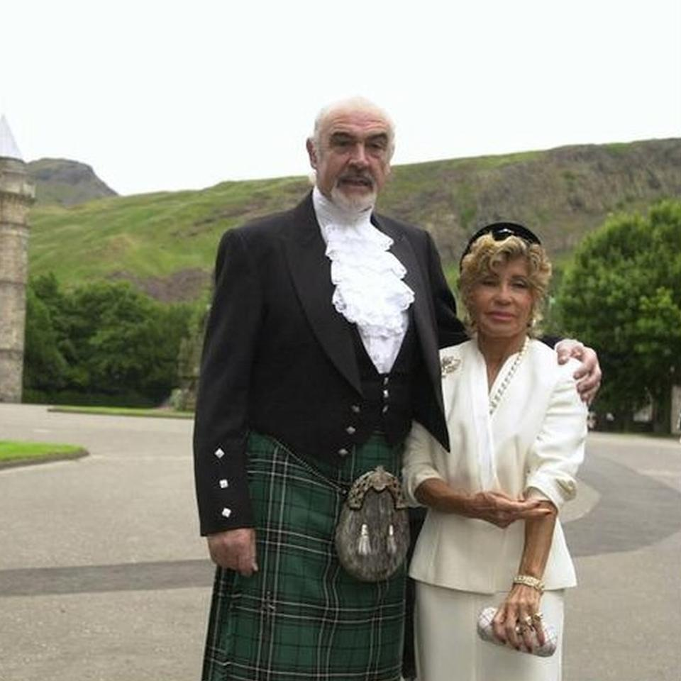 Sean Connery arriving at Holyrood Palace, Edinburgh, with his wife Micheline