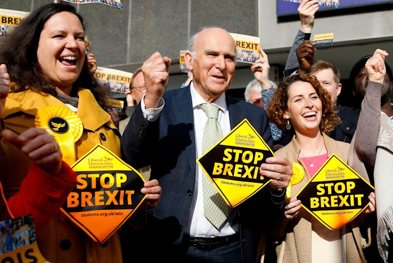 <strong>Lib Dem leader Vince Cable with party activists&nbsp;</strong> (Photo: TOLGA AKMEN via Getty Images)