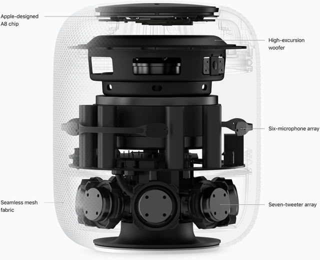 Apple says that the HomePod detects whether it's in a corner or against a wall, and adjusts the speaker output automatically.