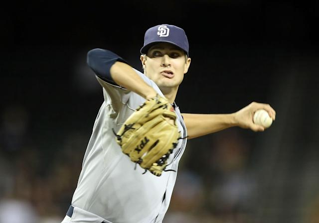 PHOENIX, AZ - MAY 17: Relief pitcher Cory Luebke #52 of the San Diego Padres pitches against the Arizona Diamondbacks during the Major League Baseball game at Chase Field on May 17, 2011 in Phoenix, Arizona. (Photo by Christian Petersen/Getty Images)
