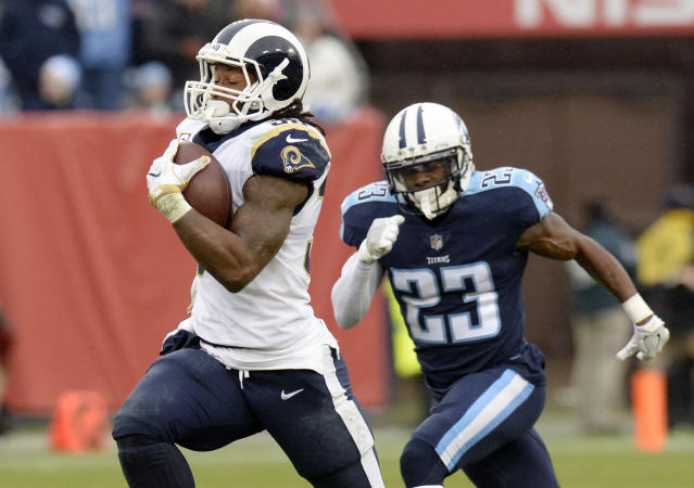 """<a class=""""link rapid-noclick-resp"""" href=""""/nfl/players/28398/"""" data-ylk=""""slk:Todd Gurley"""">Todd Gurley</a> couldn't be stopped in Sunday's win at Tennessee (AP)"""