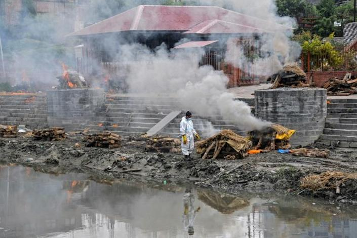 As in neighbouring India, makeshift funeral pyres have sprung up across Nepal's capital