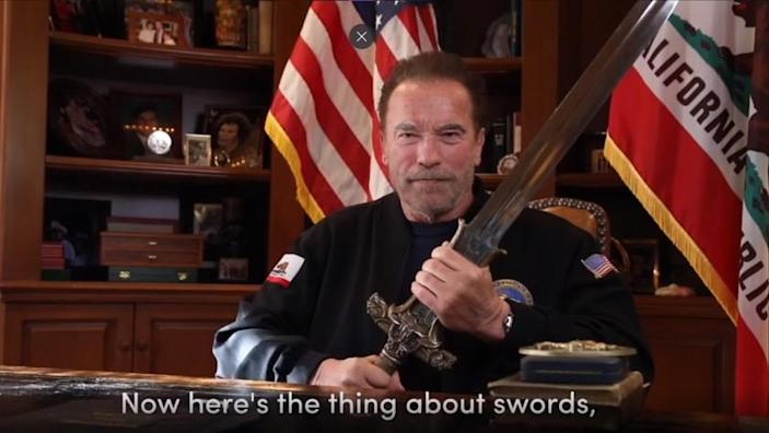 """This Sunday, Jan. 10, 2021, image from a video released by Schwarzenegger shows former Republican California Gov. Arnold Schwarzenegger delivering a public message. Schwarzenegger compared the mob that stormed the U.S. Capitol to the Nazis and called President Donald Trump a failed leader who """"will go down in history as the worst president ever."""" (Frank Fastner/Arnold Schwarzenegger via AP)"""